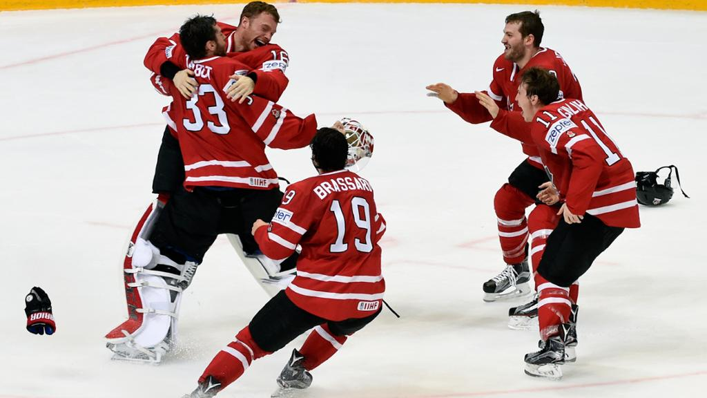 Canada's players are celebrating an earned win.